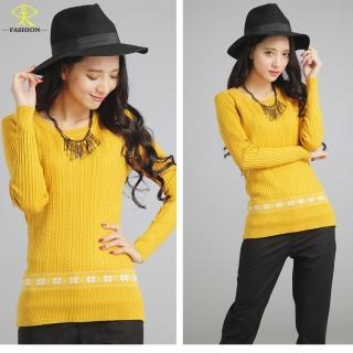 【玄太】休閒舒適配色花紋針織衫(黃/黑)