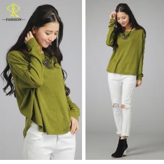 【玄太】簡約棉質百搭顯瘦針織衫(綠/灰/深黃)