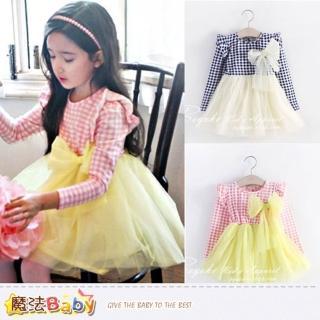 【魔法Baby】女童格紋蕾絲薄長袖連身裙(k39221)