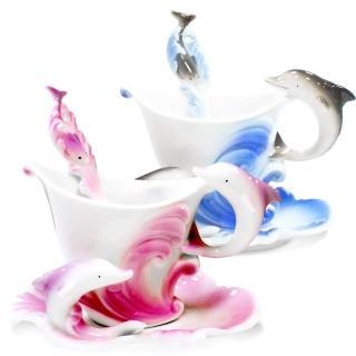 【The simple Life】海豚造型精緻骨瓷杯(150ml 共兩色可選)