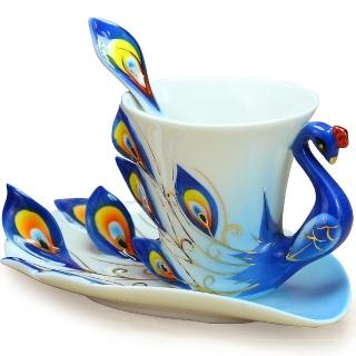 【The simple Life】孔雀造型精緻骨瓷杯(共兩色)