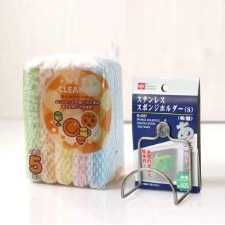 【日本LEC】不鏽鋼菜瓜布吸盤架+5入網層海綿刷