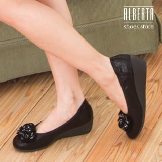 【Alberta】低調奢華寶石綴飾花朵仿蛇皮紋楔型鞋 坡跟娃娃鞋 厚底便鞋(黑色)