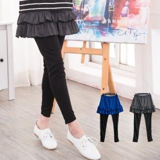 【衣心衣意中大尺碼】日系蛋糕層次顯瘦內搭褲(黑色-藍色FJ1B8009)