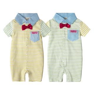 【baby童衣】連身衣 條紋翻領前開扣拼接袖 52230(共二色)