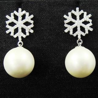 【蕾帝兒名品】雪戀白色貝珠耳環