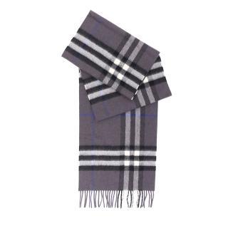 【BURBERRY】基本款經典喀什米爾圍巾(灰黑格紋)