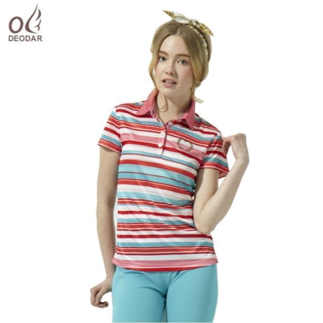 【勸敗】MOMO購物網【DEODAR】女款彈性條紋吸濕透氣POLO衫有效嗎momo客服電話