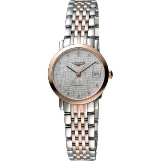 【LONGINES】Elegant 優雅系列真鑽機械女錶-銀x玫瑰金(L43095777)