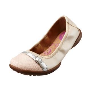 【Kimo德國品牌手工氣墊鞋】雙色飾釦真皮芭蕾娃娃鞋_輕質米白(K15SF006320)