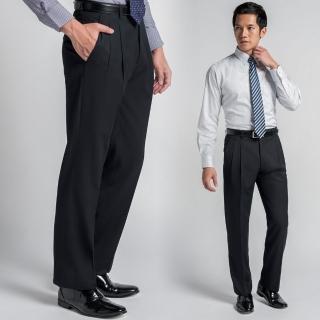 【極品西服】正式品味細條紋仿毛打褶西褲_黑(BS437-2)