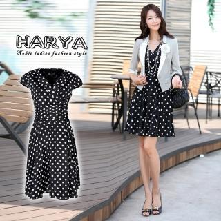 【HARYA赫亞】黑底白點短袖氣質風洋裝