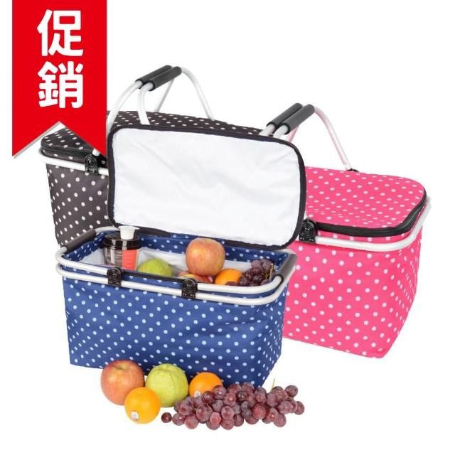 【好物推薦】MOMO購物網【LIFECODE】點點風-鋁合金折疊保冰袋/野餐提籃-桃紅色/藍色/咖啡色(3色可選)去哪買momo購物台內衣