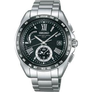 【SEIKO BRIGHTZ】防眩太陽能羅馬錶盤4局電波腕錶(黑/42mm/8B54-0AE0D)