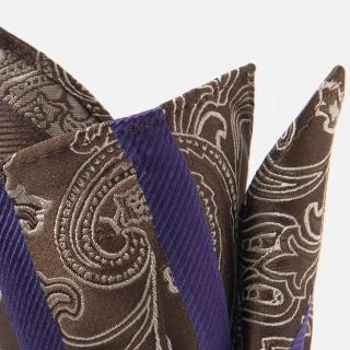 【極品西服】100%絲質口袋方巾_紫咖斜紋(YH311)