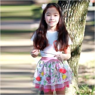 【baby童衣】女童裙子 鄉村風小碎花造型網紗蕾絲裙 52240(桃紅色)