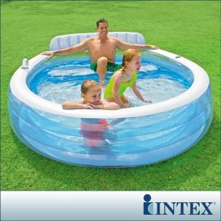 【INTEX】圓型藍色有靠背游泳池 640L(57190)
