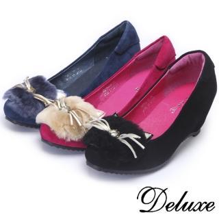 【Deluxe】毛絨貓咪楔型包頭跟鞋(★黑★桃★藍)