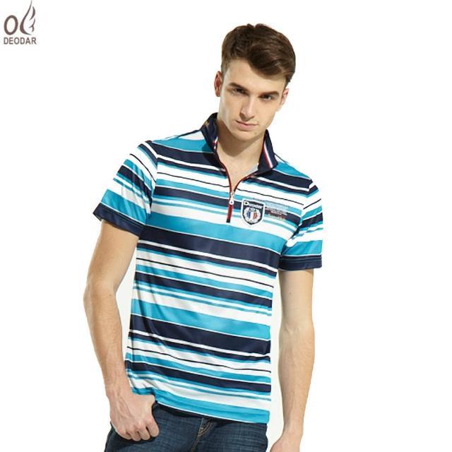 【真心勸敗】MOMO購物網【DEODAR】DEODAR 涼夏男款條紋立領衫(晴天藍)有效嗎富邦媒體科技