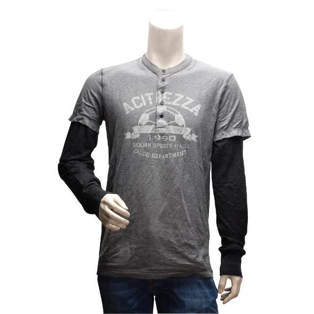 【DOLCE & GABBANA】足球圖案假兩件式亨利領長袖T恤(灰色G8G55G-kate spade 開箱G7O76)