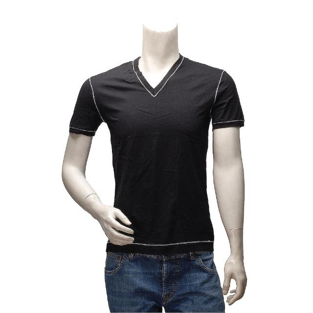 【DOLCE & GABBANA】經典款縫線m40566飾邊V領短袖純棉素面T恤(黑M14807-N0000-BLK)