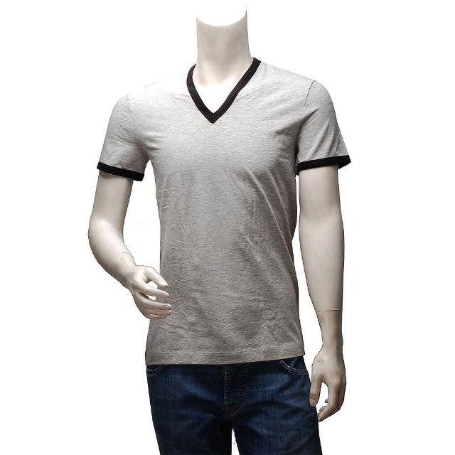 【DOLCE & Gburberry 40166221ABBANA】滾邊V領短袖純棉素面T恤(灰X黑M15221-NERO)
