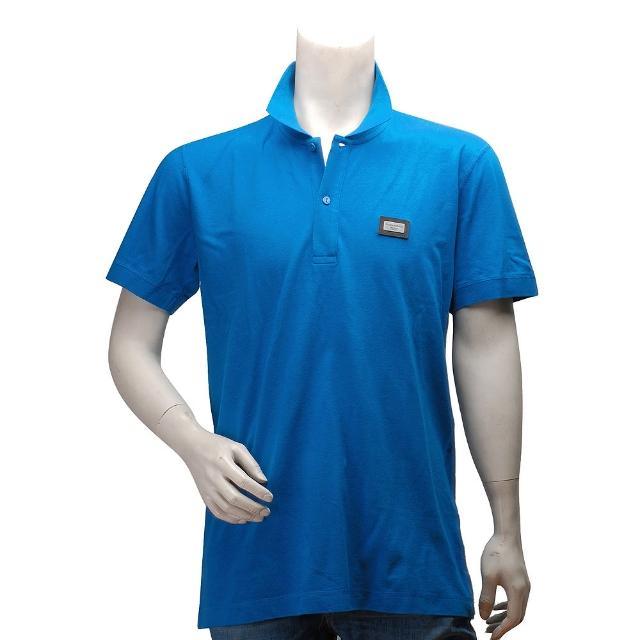 【DOLCE & GABBANA】標牌立領素面短袖POLO衫(藍色JT-G8Vmomo 24小時08T-G7MU8)