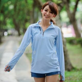 【SUNSOUL】光能長袖拉鍊運動上衣-M/L/XL(藍光)