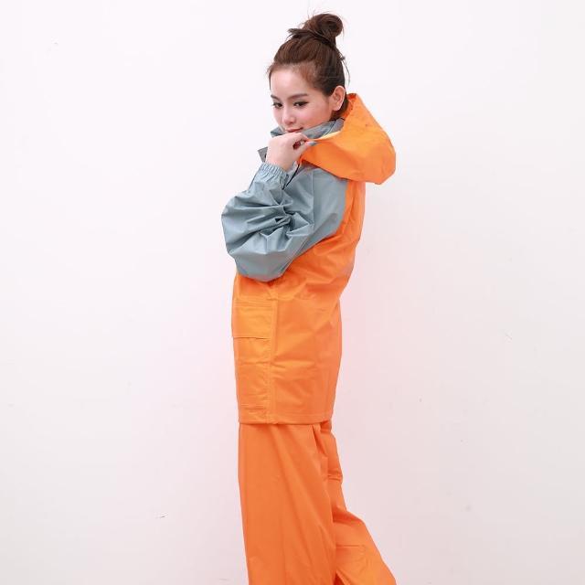 【真心勸敗】MOMO購物網【OutPerform雨衣】風動SKY二件式風雨衣-橘/淺灰(機車雨衣、戶外雨衣)推薦momo 優惠
