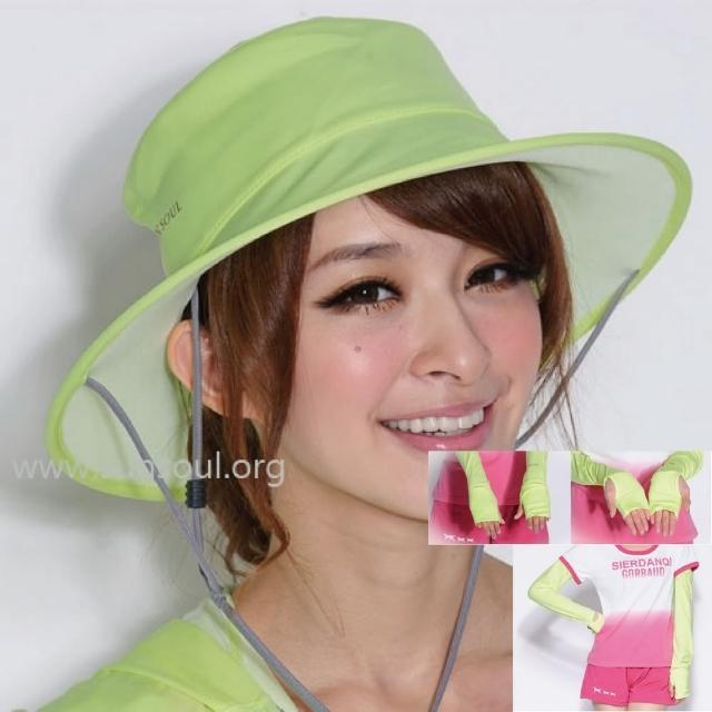 【好物推薦】MOMO購物網【SUNSOUL】光能帽-圓筒帽+袖套組(黃光)推薦momo電視購物台