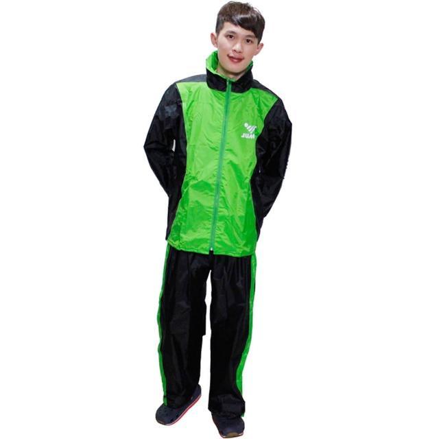 【部落客推薦】MOMO購物網【JUMP】新二代挺酷套裝休閒風雨衣-黑綠+通用鞋套(12H)去哪買momo購物網 假貨