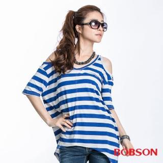 【BOBSON】女款裸肩條紋短袖上衣(藍23090-54)