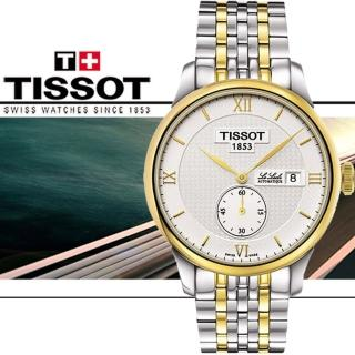 【TISSOT 天梭】力洛克半金小秒針機械腕錶(銀x雙色版/39mm T0064282203801)