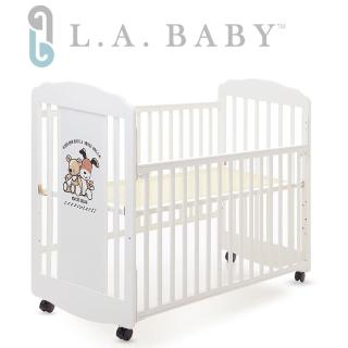 【美國 L.A. Baby】愛丁熊搖擺中小嬰兒床 原木床 童床(白色)