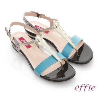 【effie】全真皮蛇紋撞色飾條T字涼鞋(湖水藍)