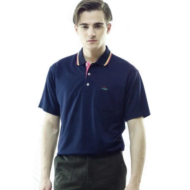 【per GIBO】吸溼排汗男版短POLO衫-momo購物專線丈青(PT121903)