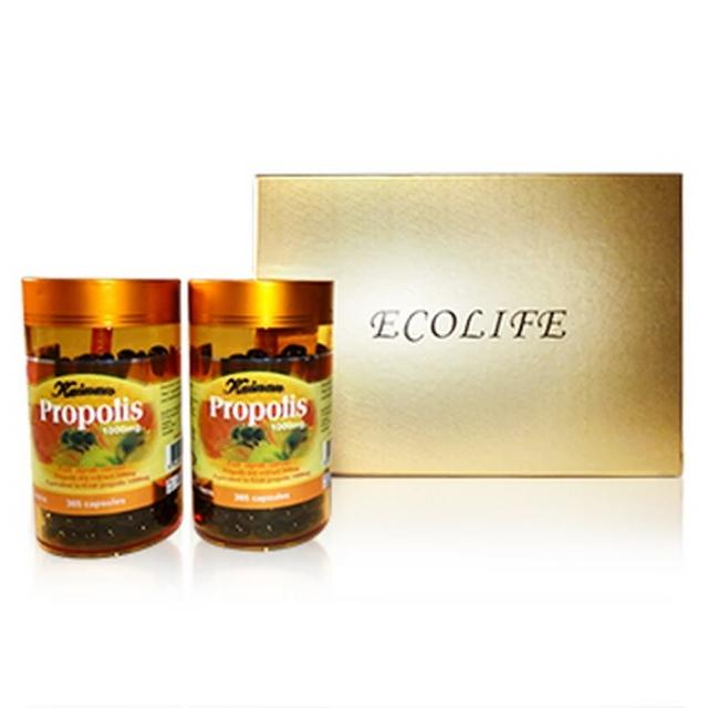 【Ecolife 綠生活 澳洲原裝進口】天然高濃縮蜂膠膠囊(禮盒 10momo客服電話幾號00mg/365顆 二罐)