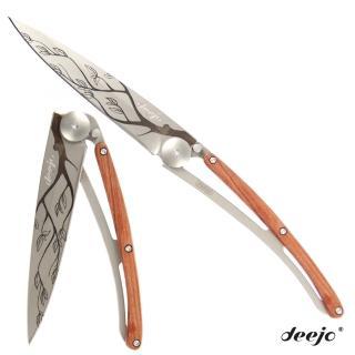 【Deejo】刺青圖騰玫瑰木刀柄摺疊刀(樹)