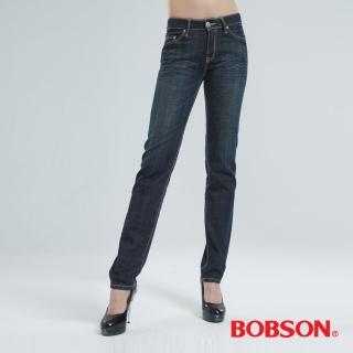 【BOBSON】小直筒褲(深藍8026-53)