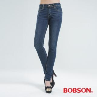 【BOBSON】亮鑽超彈力小直筒褲(中藍8061-53)