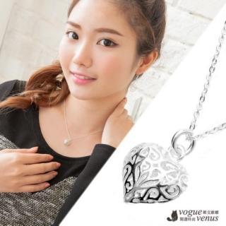 【維克維娜】浪漫春遊 立體愛心簍空花紋 925純銀項鍊