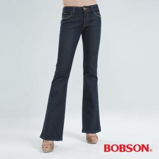 【BOBSON】銀色刺繡伸縮小喇叭褲(中藍9036-77)