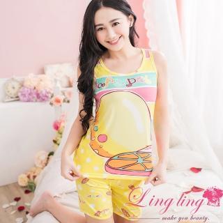 【lingling日系】PA2380全尺碼-可口檸檬背心牛奶絲二件式睡衣組(香橙黃)
