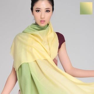 【Seoul Show】80支紗 鵝黃淺綠漸層撞色100%純羊毛圍巾保暖披肩