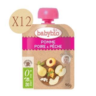 【法國BABYBIO】有機蘋果洋梨纖果泥(90gx12)