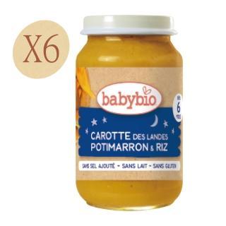 【法國BABYBIO】有機晚安南瓜紅蘿蔔米泥(200gx6)