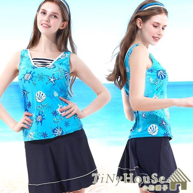 【好物分享】MOMO購物網【TiNyHouSe小的舖子】三件式假兩件V領短褲短裙款泳裝(T-360海洋風印花M/L)評價富邦momo購物台網站