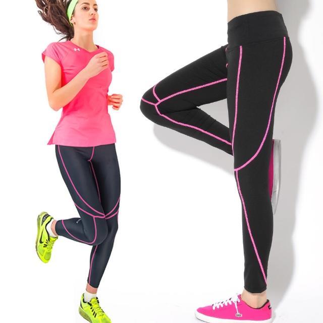 【momo網路購物LOTUS】彈力速乾分割剪裁修身運動褲(亮桃紅M-XL)