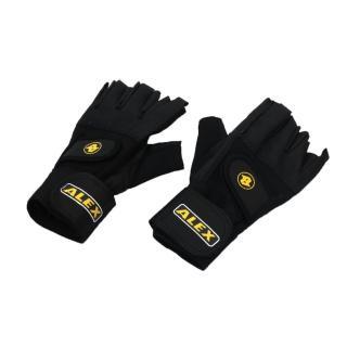 【ALEX】皮革手套-健身 重量訓練 半指手套 台灣製造(黑)