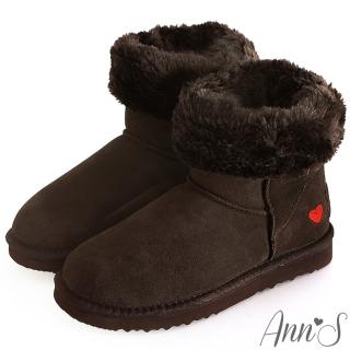 【Ann'S】甜美刺繡愛心2way可愛真皮雪靴(咖)